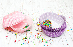 Empty cupcake cups Royalty Free Stock Images