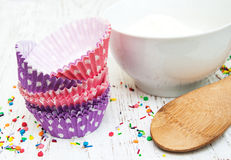Empty cupcake cups Stock Photography