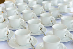 Empty cups waiting for banquet time Stock Images