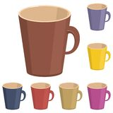 Empty cups on white background. Empty cups different colors on white background illustration royalty free illustration