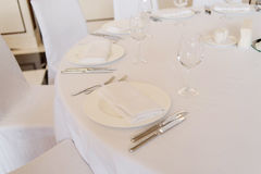 Empty cutlery on the table. Table setting Royalty Free Stock Image