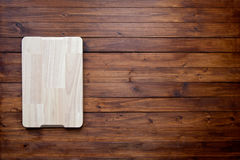 Empty cutting board on vintage dark wooden board food background concept vector illustration