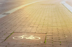 Empty Cycle Path at Sunset Royalty Free Stock Photos