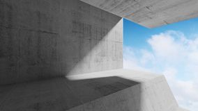 Empty 3d abstract concrete interior. Empty concrete interior with clouds behind the window. Modern minimalist architecture background, 3d render illustration Stock Photo