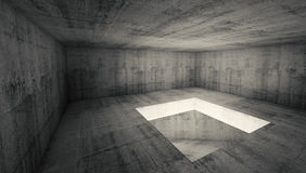 Empty 3d dark concrete room interior with square hole. Abstract architecture background, empty dark concrete room interior with square hole in the floor, 3d Royalty Free Stock Photo