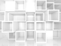 Empty 3d interior with white square shelves on the wall. Abstract empty 3d interior with white square shelves on the wall, perspective effect royalty free illustration