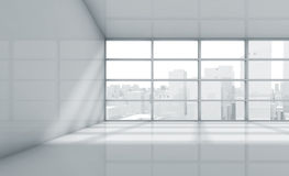 Empty 3d room with cityscape in the window Stock Photo
