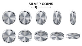 Empty 3D Silver Coins Vector Blank Set. Realistic Template. Flip Different Angles. Investment, Web, Game App Interface Stock Image