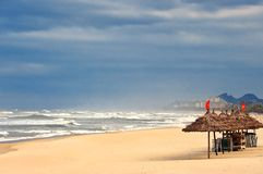 Empty Da Nang beach in Vietnam. stock photography