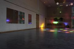 Empty dance hall with colored lights/dance hall Royalty Free Stock Images