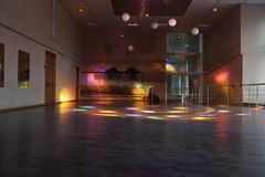 Empty dance hall with colored lights/dance hall Stock Photography