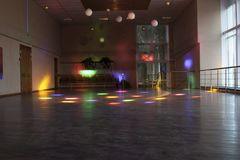 Empty dance hall with colored lights/dance hall Stock Image