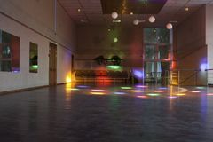 Empty dance hall with colored lights/dance hall Stock Photo