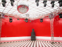 Empty dance room with disco ball. Disco ball with squares reflections red white black in all squares room Stock Photo