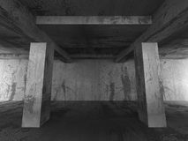 Empty dark abstract concrete room interior. Architecture urban b. Ackground. 3d render illustration royalty free illustration