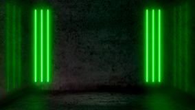 Empty Dark Abstract Room With Green Fluorescent Neon Lights