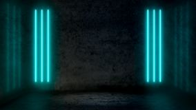 Empty dark abstract room with pastel blue fluorescent neon lights. Stage, scene and night club party concept background with copy space for text or product royalty free illustration