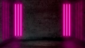 Empty dark abstract room with pink fluorescent neon lights. Stage, scene and night club party concept background with copy space for text or product display royalty free illustration