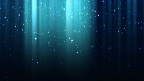 Empty dark blue background with rays of light, sparkles, night starry sky, seamless loop. Empty dark blue background with rays of light, sparkles, night shining stock video