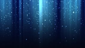 Empty dark blue background with rays of light, sparkles, night starry sky, seamless loop