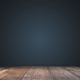Empty Dark blue with with wood floor Studio well use as backgrou Royalty Free Stock Photo