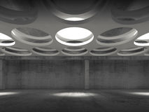 Empty dark concrete hall interior, front view. Empty dark concrete hall interior with round lamps in suspended ceiling, 3d illustration background, front view Royalty Free Stock Photography