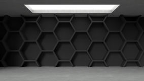 Empty dark concrete hexagons pattern room interior with light from ceiling. 3D rendering Stock Photos