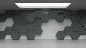 Empty dark concrete hexagons pattern room interior with light from ceiling. 3D rendering Royalty Free Stock Image