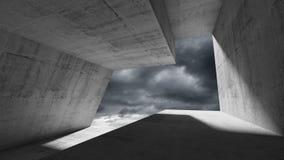 Empty dark concrete interior 3d. Empty dark concrete interior with stormy dramatic sky behind the window. Modern minimalist architecture background, 3d render Stock Images