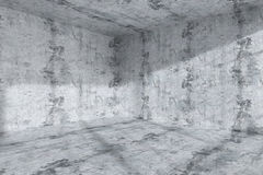Empty dark concrete room corner interior Stock Images