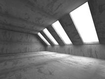 Empty Dark Concrete Room Interior Architecture Background. 3d Render Illustration Royalty Free Stock Photos