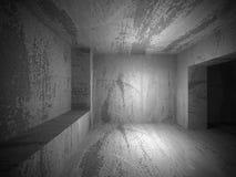 Empty dark concrete room interior. Architecture urban background. 3d render illustration Royalty Free Stock Photos