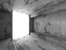 Empty dark concrete room interior. Architecture urban background. 3d render illustration Stock Images