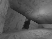 Empty dark concrete room interior. Architecture urban background. 3d render illustration Stock Image