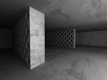 Empty dark concrete room interior. Architecture urban background. 3d render illustration Stock Photos
