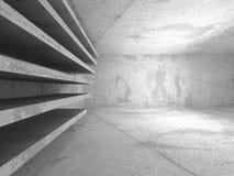 Empty Dark Concrete Room Interior Background. 3d Render Illustration Royalty Free Stock Photos
