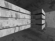 Empty Dark Concrete Room Interior Background. 3d Render Illustration Royalty Free Stock Image