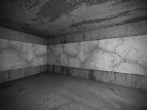 Empty dark concrete room interior corner. 3d render illustration Royalty Free Stock Photos