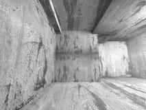Empty dark concrete room interior corner. 3d render illustration Stock Photo