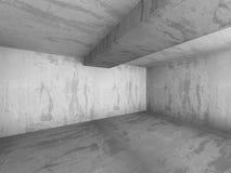 Empty dark concrete room interior corner. 3d render illustration Stock Photography