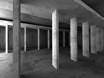 Empty dark concrete room interior. Urban architecture background. Empty dark concrete room interior. Urban modern architecture background. 3d render illustration Royalty Free Stock Photography