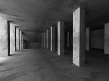 Empty dark concrete room interior. Urban modern architecture bac Stock Image