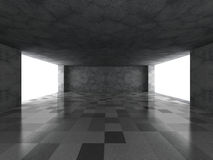Empty dark concrete room with tile floor. Modern urban architect. Ure. 3d render illustration Royalty Free Stock Photos