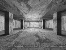 Empty dark concrete walls room interior. Abstract architecture b Royalty Free Stock Image