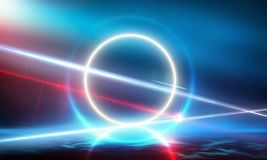 Empty Dark Futuristic Sci Fi Big Hall Room With Lights And Circle Shaped Neon Light. Dark neon background, empty stage, abstract dark background. Neon circle royalty free illustration