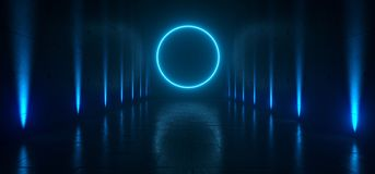 Empty Dark Futuristic Sci Fi Big Hall Room With Lights And Circle Shaped Neon Light On Refelction Surface 3D Rendering. Illustration vector illustration
