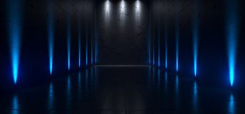 Empty Dark Futuristic Sci Fi Big Hall Room With Lights And Refelction Surface 3D Rendering. Illustration vector illustration