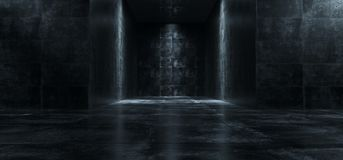 Empty Dark Grunge Concrete Room With Lights On The Walls 3D Rend. Ering Illustration royalty free illustration