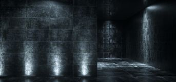 Empty Dark Grunge Concrete Room With Lights On The Walls 3D Rend. Ering Illustration vector illustration