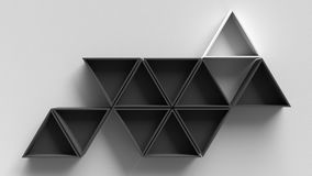 Empty dark hexagons shelves on white concrete wall background, 3D rendering Stock Images